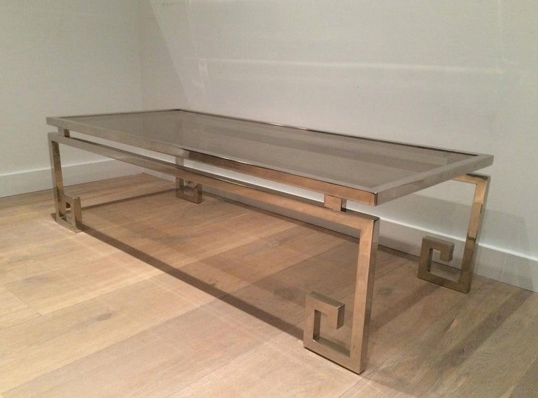 Late 20th Century Very Nice Large Chrome Coffee Table, circa 1970  For Sale