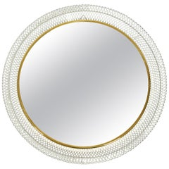 Round Extra Large Mid-Century Modern Wall Mirror with White Metal Frame