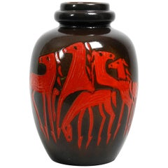 Very Nice Extra Large Dark Brown Ceramic Floor Vase with Red Abstract Horses