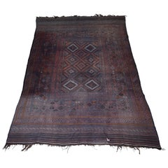 Very Old Worn Antique Kilim Large Floor Rug Hand Knotted and Woven