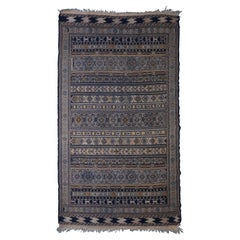 Very Old Worn Antique Kilim Medium Floor Rug Hand Knotted and Woven
