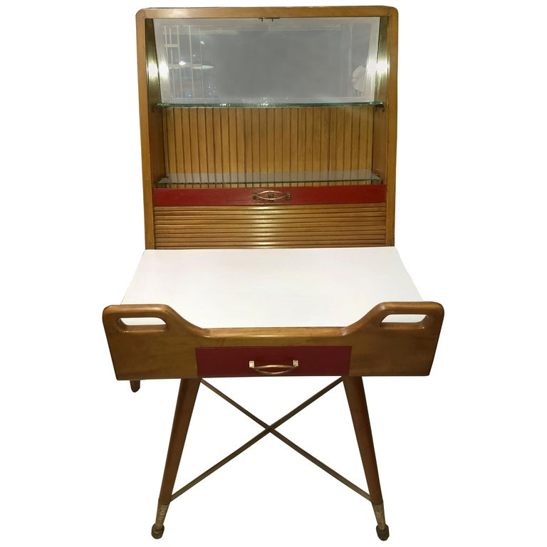 Very Original Desk or Vanity in Natural Elmwood with Roll Top Curtain For Sale