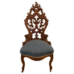 Very Pretty Antique Victorian Hand Carved Walnut Side Chair