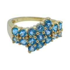 Very Pretty Aquamarine Triple Bypass Design Band Ring in 14 Karat Yellow Gold