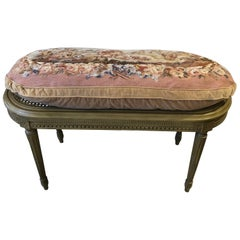 Very Pretty French Beige Painted Oval Caned Bench with Custom Tapestry Cushion