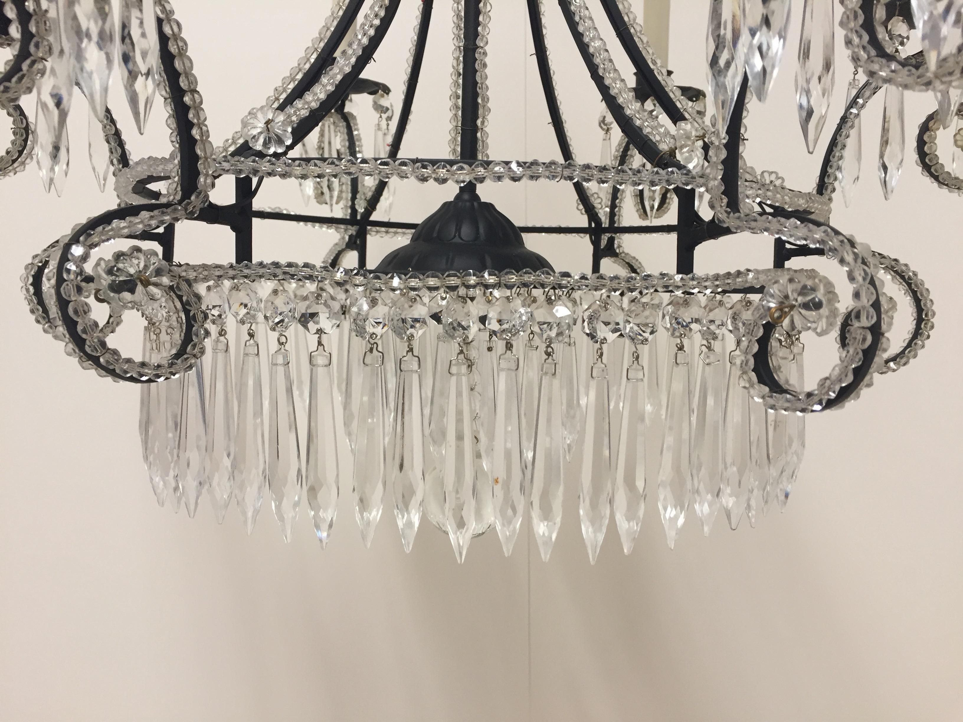 Kronleuchter Eisen ~ Sehr hübsche französische eisen und kristall kronleuchter im