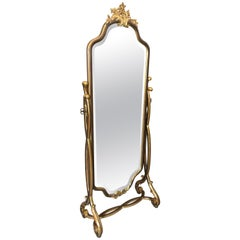 Very Pretty French Style Gilt Decorated Standing Cheval Dressing Mirror