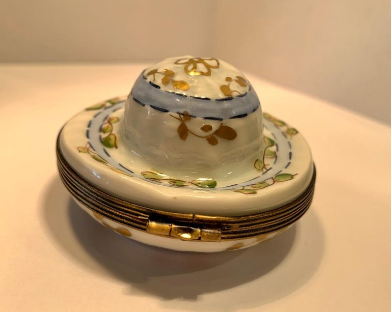 French Very Pretty Limoges France Hand Painted Porcelain Hat Shaped Trinket Box For Sale