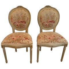 Very Pretty Pair of Louis XVI Style Oval Back Fauteuils Side Chairs