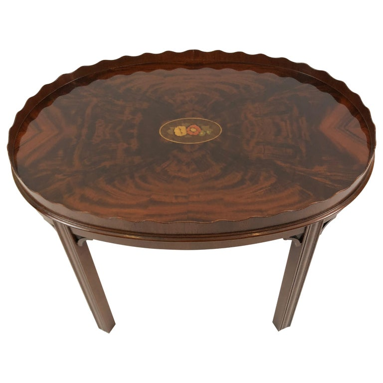 Very Pretty Small Oval Flame Mahogany Coffee Table Or Side By Councill