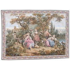 Very Pretty Vintage Aubusson Style French Halluin Manufacturing Tapestry