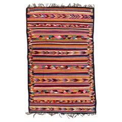 Very Pretty Vintage Colourful Moroccan Kilim