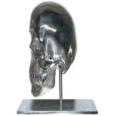 Very Rare 1 of 9 Polished Steel Louis Pratt Ambassador Skull Statue Sculpture