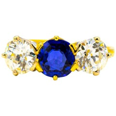 Very Rare 1.25 Carat Kashmir Sapphire with 2+ Carat Diamonds circa 1900s Ring