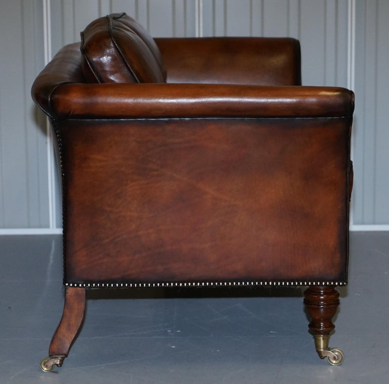 Very Rare Victorian Howard & Sons Fully Restored Brown Leather Sofa For Sale 5