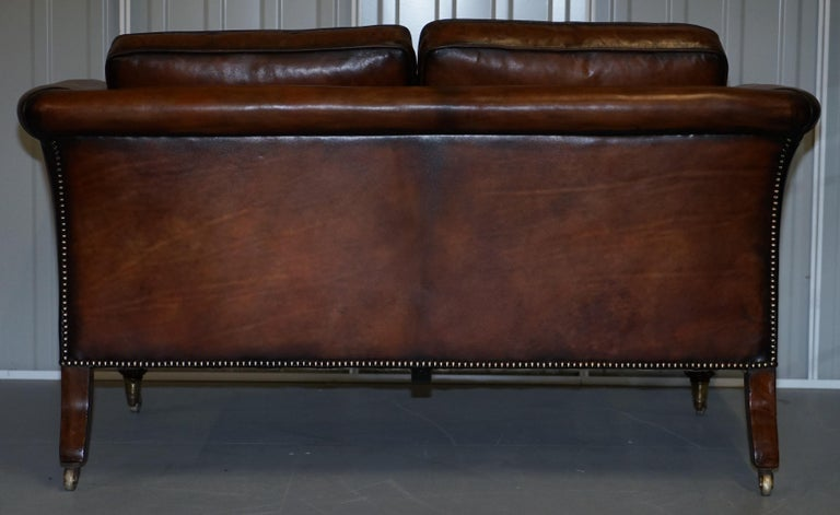 Very Rare Victorian Howard & Sons Fully Restored Brown Leather Sofa For Sale 7