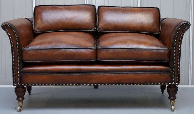 We are delighted to offer for sale this stunning exceptionally rare original early Victorian Howard & Son's Berners street tobacco brown leather fully restored sofa  I have a Howard & Son's armchair listed under my other items that has just been