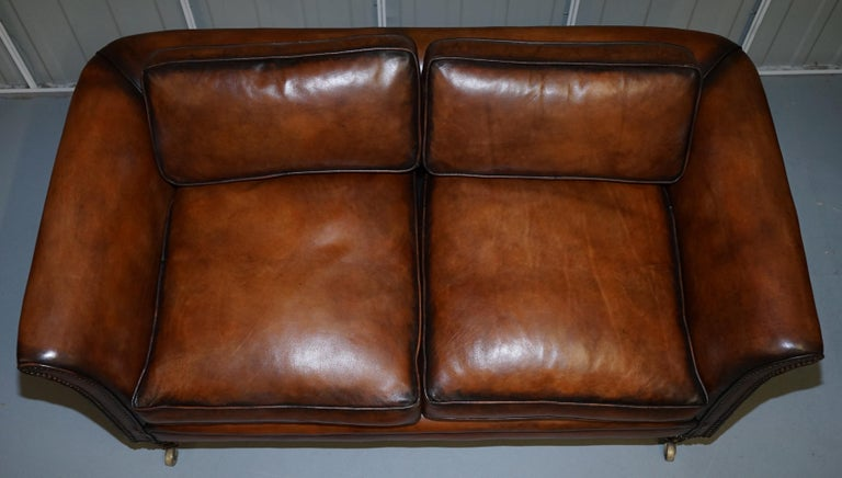 English Very Rare Victorian Howard & Sons Fully Restored Brown Leather Sofa For Sale