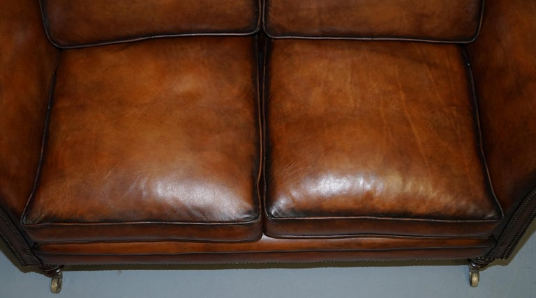 19th Century Very Rare Victorian Howard & Sons Fully Restored Brown Leather Sofa For Sale