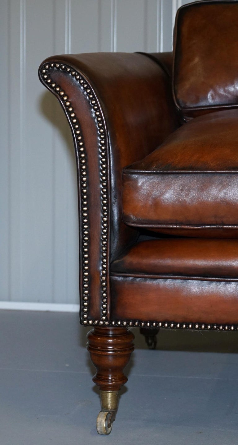 Very Rare Victorian Howard & Sons Fully Restored Brown Leather Sofa For Sale 1
