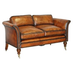 Very Rare Victorian Howard & Sons Fully Restored Brown Leather Sofa