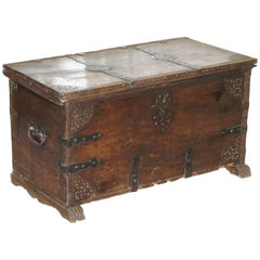 Very Rare 17th Century Walnut Spanish Chest or Trunk Hand-Carved Iron Bound Lock