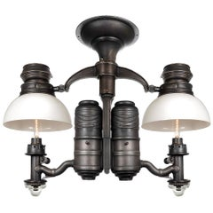 Very Rare 1800s Dayton Railroad Dining Car Double Chandelier