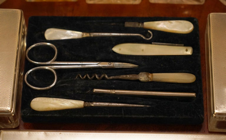 Very Rare 1867 Asprey & Co. Coromandel Dressing Table Box Sterling Silver Pearl For Sale 6