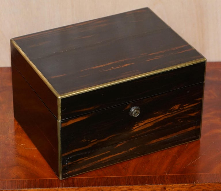 We are delighted to offer for sale this very rare 1867 sterling silver hallmarked Asprey 166 Bond Street London Coromandel wood vanity dressing table box  A very rare and high quality collectable piece, the box is solid Coromandel wood with brass