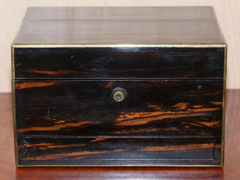 Georgian Very Rare 1867 Asprey & Co. Coromandel Dressing Table Box Sterling Silver Pearl For Sale