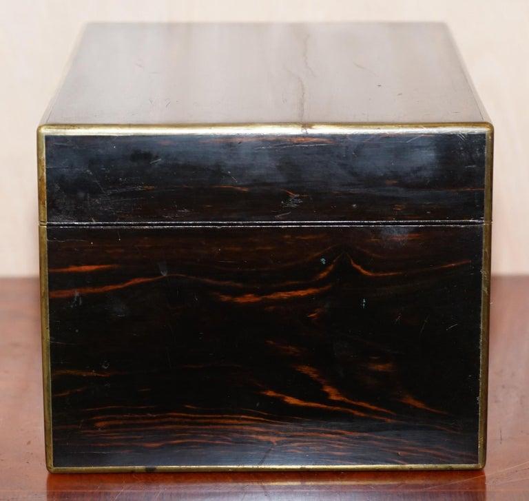 English Very Rare 1867 Asprey & Co. Coromandel Dressing Table Box Sterling Silver Pearl For Sale