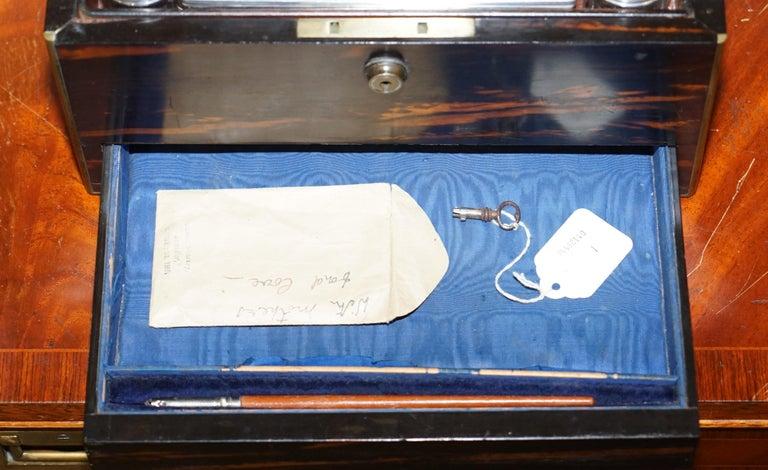 Very Rare 1867 Asprey & Co. Coromandel Dressing Table Box Sterling Silver Pearl In Good Condition For Sale In , Pulborough