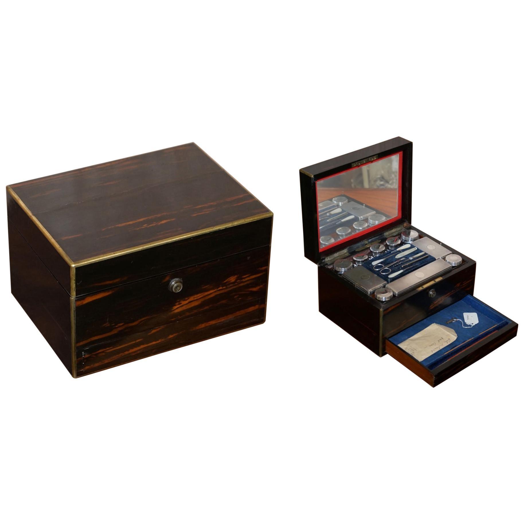 Very Rare 1867 Asprey & Co. Coromandel Dressing Table Box Sterling Silver Pearl