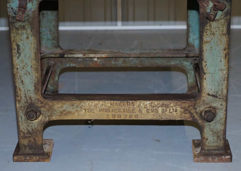 Edwardian Very Rare 1902 Industrial Steel Projectile & Eng Co Ltd London Work Bench Table For Sale
