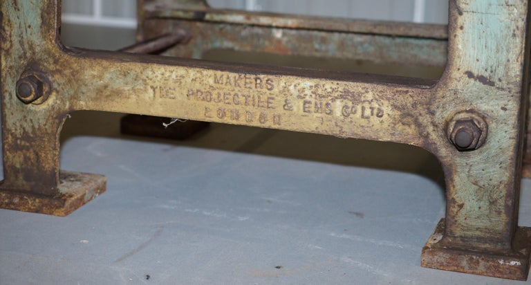 English Very Rare 1902 Industrial Steel Projectile & Eng Co Ltd London Work Bench Table For Sale