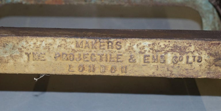 Hand-Crafted Very Rare 1902 Industrial Steel Projectile & Eng Co Ltd London Work Bench Table For Sale