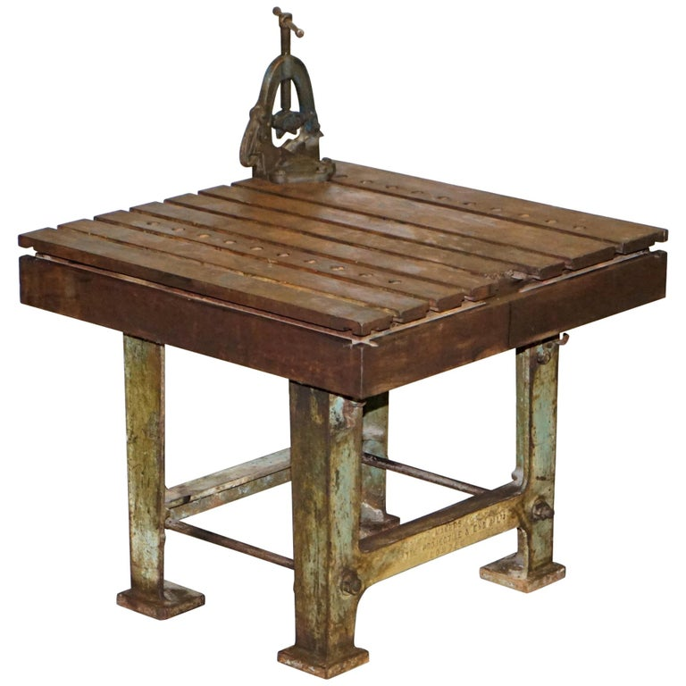 Very Rare 1902 Industrial Steel Projectile & Eng Co Ltd London Work Bench Table For Sale
