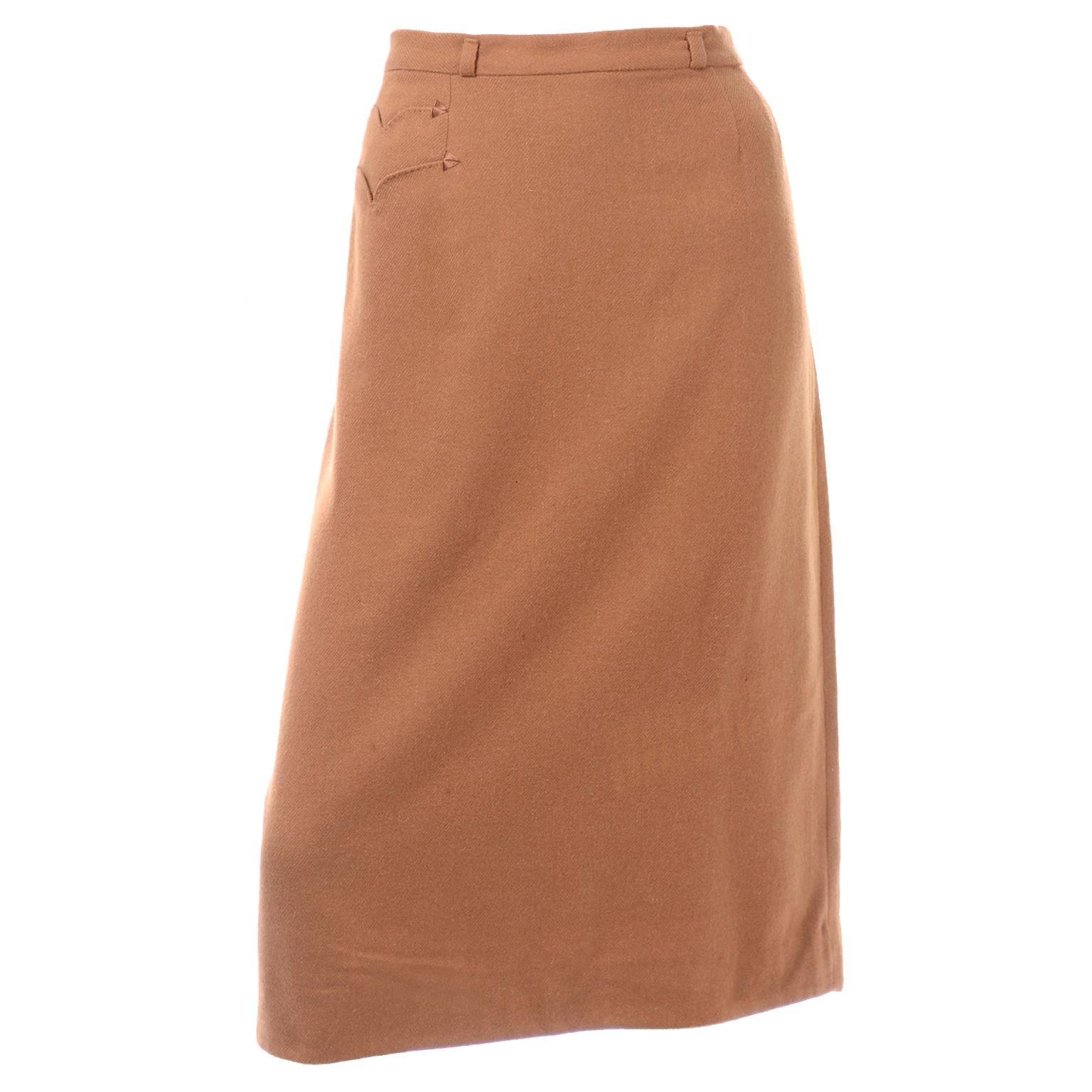 Very Rare 1950s Vintage Evan Picone 100% Vicuna Toffee Brown Slim Skirt