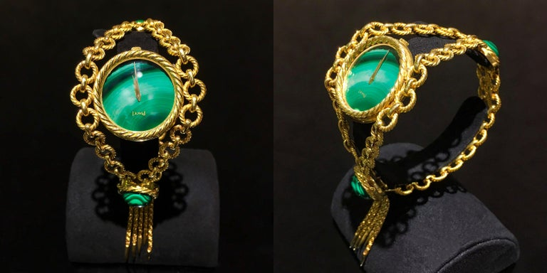 Very Rare 1960s-1970s Piaget 18 Karat Gold Malachite Necklace and Bracelet Watch 10