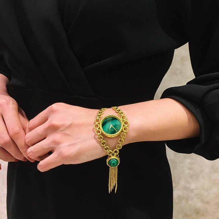 Retro Very Rare 1960s-1970s Piaget 18 Karat Gold Malachite Necklace and Bracelet Watch