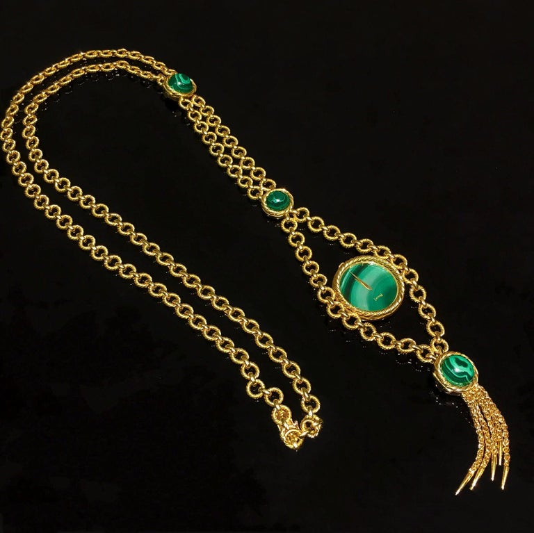 Women's or Men's Very Rare 1960s-1970s Piaget 18 Karat Gold Malachite Necklace and Bracelet Watch