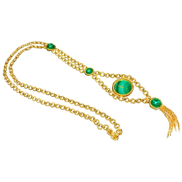 Very Rare 1960s-1970s Piaget 18 Karat Gold Malachite Necklace and Bracelet Watch