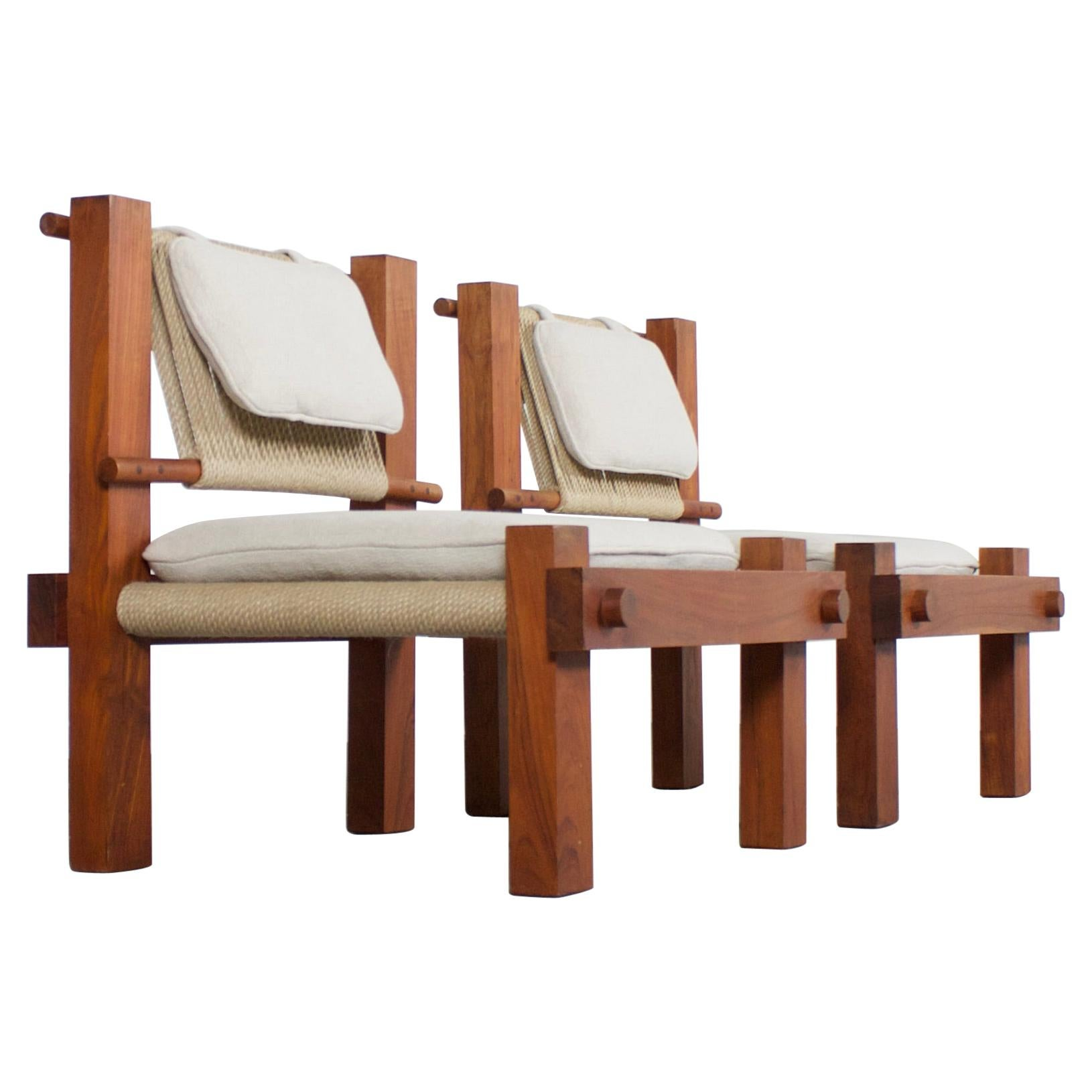 Very Rare 1960s Lounge Chairs by Mini Boga for Taaru, India, 1960s