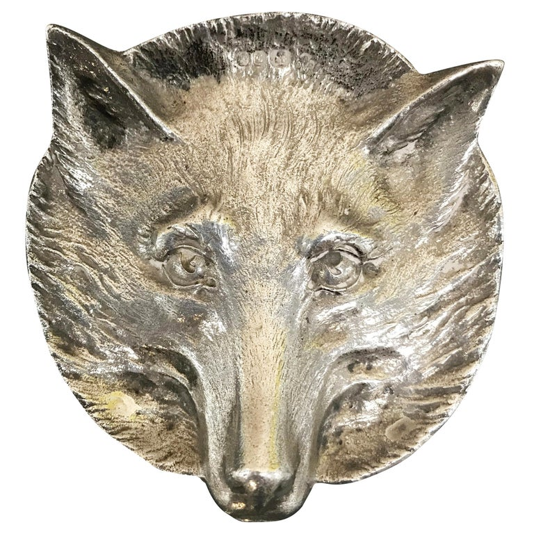 Very Rare 1964 Asprey London Solid Sterling Silver Pin Tray of a Foxes Head For Sale