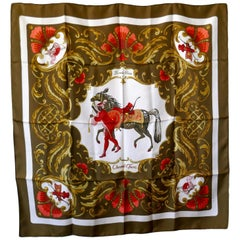 "Very Rare 1969 Hermes Silk Scarf "" Cheval Turc "" by  Christiane Vauzelles"