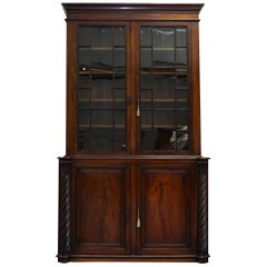Very Rare 19th Century Victorian Ornately Carved Mahogany Library Study Bookcase