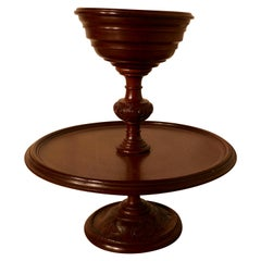 Very Rare 2 Tier Mahogany Lazy Susan