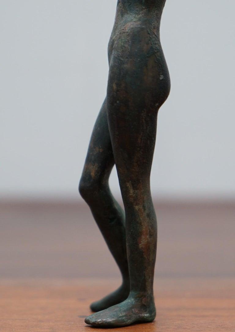 Signed Female Nude Bronze Sculpture Marble Art Deco Statue