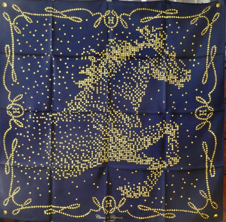 "Very Rare 2010 Hermes Silk Scarf "" Cheval de Legende"" by  Benoit Pierre Emery For Sale 1"