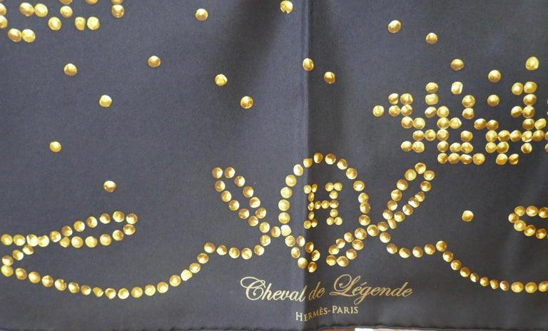 "Very Rare 2010 Hermes Silk Scarf "" Cheval de Legende"" by  Benoit Pierre Emery For Sale 2"